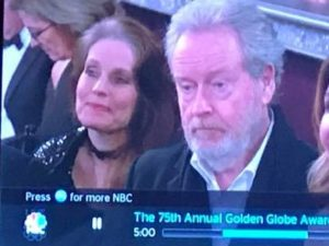 Charlotte Laws and Ridley Scott at the Golden Globes in 2018