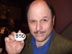 Jason Alexander with Mae Poulet's egg